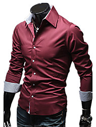 Men's Personality Pure Color Casual Long-Sleeved Shirt