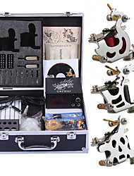 Complete Tattoo Kit 3 steel machine liner & shader 3 Tattoo Machines LCD power supply Inks Shipped Separately