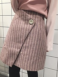 Sign striped woolen skirts