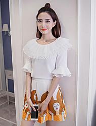 Zeichen 2017 Horn Hülse Hülse Hemdkragen hohe Taille Röcke plissiert A-Linie Kleid