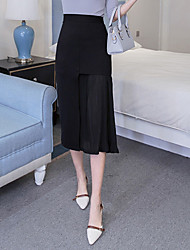 A Line Solid 十字交叉 Layered Skirts,Casual/Daily Simple Mid Rise Midi Zipper Polyester Stretchy Spring Summer