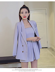 Sign 2017 new spring new fashion OL style double-breasted suit jacket + Bra piece pants suit