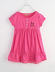 Girl's Sports Solid Dress,Cotton Summer Short Sleeve