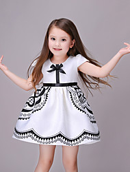 Girl's Cotton Fashion And Lovely Black Printing Half Sleeve Dress Jacquard Bitter Fleabane Bitter Fleabane Princess Dress