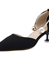 Women's Heels Spring Fleece Dress Kitten Heel Imitation Pearl Black