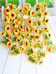 1 Ast Polyester Sonnenblumen Wand-Blumen Künstliche Blumen 750