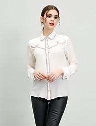 Camisa Social Trabalho Simples Primavera Verão,Sólido Branco Preto Seda Colarinho de Camisa Manga Longa