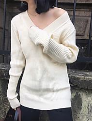 assinar super confortáveis com nervuras quente do v-pescoço de manga comprida camisa de malha camisola assentamento de outono e inverno