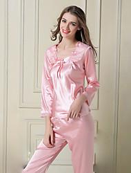 Damen Satin & Seide Anzüge Nachtwäsche,Sexy Spitze einfarbig-Dünn Satin Seide Eis-Seide Rosa Lila Rote