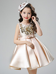 Ball Gown Short / Mini Flower Girl Dress - Cotton Satin Sleeveless Jewel with Bow(s) Sash / Ribbon Sequins