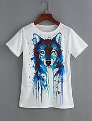 Damen Druck Niedlich Lässig/Alltäglich T-shirt,Rundhalsausschnitt Sommer Kurzarm Weiß Baumwolle / Polyester Dünn