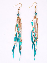 Europe And The United States To Restore Ancient Ways Fashionable Tassel Earrings National Wind Feather Earrings Long Earrings