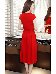 Sign suit female models in Europe station 2017 new short-sleeved T-shirt two-piece wide leg culottes skirt suit