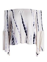 Damen Solide Einfach Ausgehen T-shirt,Bateau Frühling Sommer Langarm Baumwolle