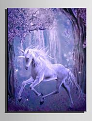 E-HOME Stretched LED Canvas Print Art Magic White Horse LED Flashing Optical Fiber Print One Pcs