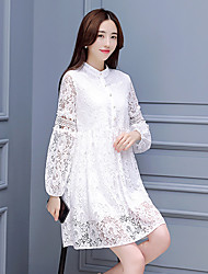 Women's Lace Grand Prix spring 's ladies fashion lace dress was thin long-sleeved dress Slim bottoming
