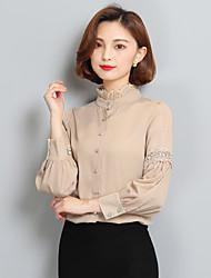 Sign 2017 spring new chiffon shirt collar shirt female long-sleeved shirt Korean ladies lace shirt