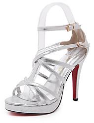 Women's Sandals Spring Summer Fall Other PU Wedding Office & Career Dress Stiletto Heel Buckle Black Silver