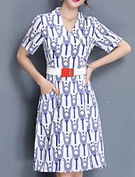 Women's Plus Size Going out Casual/Daily Simple Cute Shift Dress,Geometric Shirt Collar Knee-length Short Sleeve Blue Red Others Summer