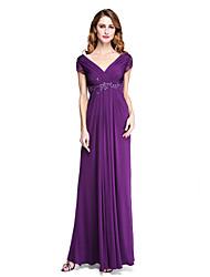 LAN TING BRIDE Sheath / Column Mother of the Bride Dress - Open Back Elegant Floor-length Short Sleeve Jersey withAppliques Beading Criss