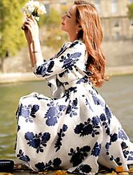 Femme volant Trapèze Gaine Balançoire Robe Décontracté/Quotidien Soirée Sortie Vintage Chic de Rue Sophistiqué,Fleur Couleur Pleine