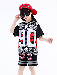 Jazz Outfits Dance Dress For Boys/Girls Kid's Children's Performance Cotton Print Sequins 2 Pieces Short Sleeve Top Shorts Black