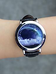 Жен. Модные часы Наручные часы Уникальный творческий часы Кварцевый LED Натуральная кожа Группа Cool Повседневная Креатив Черный