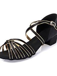 Kids' Dance Shoes Latin shoes  Satin Leatherette  Black / Gold L52
