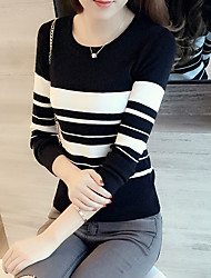 Spot 2017 new Slim short paragraph thin black and white striped long-sleeved sweater autumn sweater Women