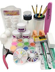novo pó acrílico líquidos francês unha arte dicas escova cola UV ferramentas kits definir