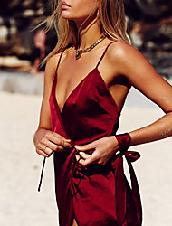 Для женщин Ультра-секси Форма / чонсам Ночное белье,Сексуальные платья Однотонный-Средний Нейлон Красный