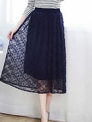 Women's A Line Solid Elegant Slim Lace Pleated Skirts  Mid Rise Midi Elasticity  Inelastic Spring