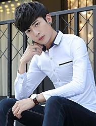 hombres&# 39; s de otoño e invierno de la camisa de manga larga de color sólido jóvenes de negocios coreano ropa casual estudiante
