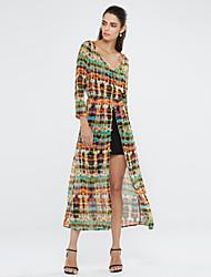 europa chiffon hawaii moda v pescoço vestido manto maxi das mulheres