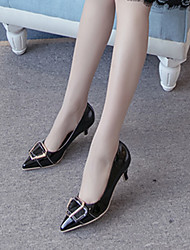 Heels Spring Club Shoes Patent Leather Dress Kitten Heel Buckle