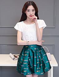 versão coreana sinal 2016 novas mulheres vestido estampado de fino pedaço de manga curta saia montado uma palavra saia