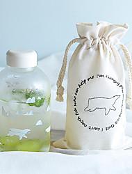Transparent Cartoon To-Go Outdoor Drinkware, 600 ml Portable Leak-proof Glass Tea Juice Water Bottle