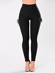 Femme Slim Chino Pantalon,simple Street Chic Décontracté / Quotidien Soirée Couleur Pleine Maille Taille Haute Elasticité Polyester