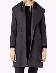 Manteau Femme,Couleur Pleine Sortie simple Manche Longues Col en V Repasser à l'envers Coton Long Printemps