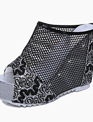 Women's Sandals Summer Club Shoes PU Casual Wedge Heel Others Black Silver Gold