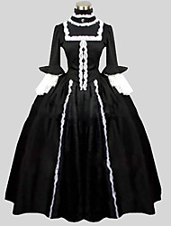 One-Piece/Dress Gothic Lolita Victorian Cosplay Lolita Dress Solid Long Sleeve Long Length Dress For Cotton