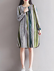 HOT!Women's Casual/Daily Simple Loose DressStriped Color Block Round Neck Knee-length Long Sleeve Cotton Linen Green Orange Spring FallMid