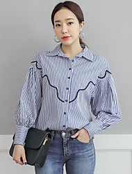 NEW ITEMS Korea lady style wild striped shirt embroidered shirt