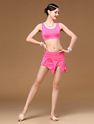 Belly Dance Outfits Women Girl Training Modal 2 Pieces Sleeveless Dropped Top Skirt