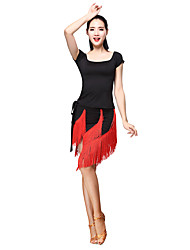 Latin Dance Outfits Women's Training Milk Silk  Fringe short suit