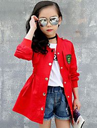 Girl's Casual/Daily Print Patchwork Trench Coat,Cotton Spring Fall Long Sleeve
