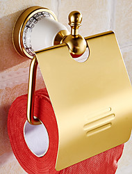 Gold Toilet Paper Holder With CeramicsRoll Holder Tissue HolderSolid Aluminum Bathroom Accessories Products