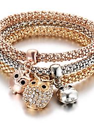 Women's Charm Bracelet Turkish Multi Layer Cute Style Personalized Costume Jewelry Fashion Rhinestone Animal Shape Owl Jewelry For Party