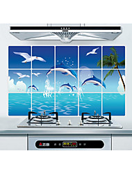 Dolphin Kitchen Ceramic Tile Wall Prevent Oil Stickers