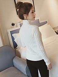 ядро пряжи кролика новой зимы 2016 корейских женщин с высоким воротником свитер белый поворот с длинными рукавами тонкий основывая